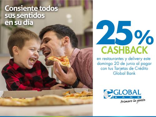 Imagen relacionada a la promoción Cashback Día del Padre restaurantes y deliveries
