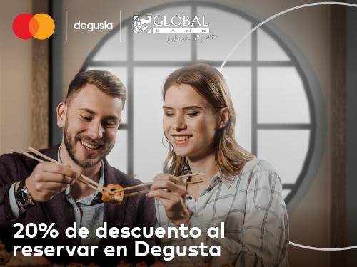Imagen relacionada a la promoción 20% de descuento al reservar en Degusta y pagar con Mastercard Black